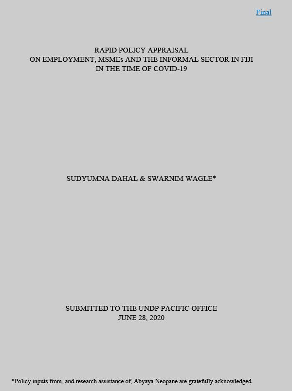 Fiji Rapid Policy Appraisal